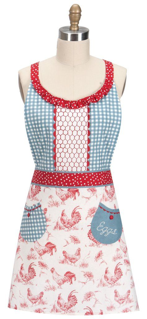 """Apron - Vintage Farm Nostalgia Rooster. This pretty and cute Farm Nostalgia rooster and chickens kitchen women's Apron features a red and white dot waistband and shoulder straps. The skirt has a rooster chicken and flower pattern and has 2 pockets with red rick rack and red buttons and """"Eggs"""" embroidered on one pocket. The blue gingham check bib bodice features a unique chicken wire pattern bordered by rick rack in the center.  Vintage style.  Apron measures 26"""" x 27"""". Made of 100% cotton."""