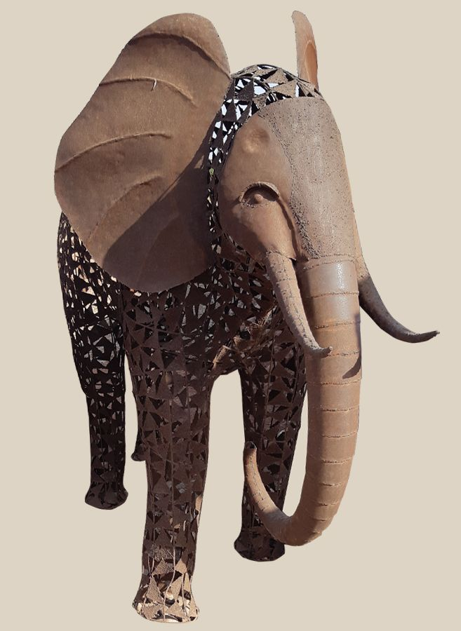 Magnifique éléphant 20 cm de nombreux détails défenses et Oreilles Métal Couleurs