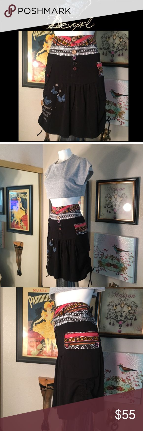 🦋Desigual skirt 🦋 NEW in Perfect Condition.  100% Authentic Desigual skirt button front, side pocket, sides gathers. Looks really cute on unfortunately it's too small for me, size 34 European fifth like a size 2 USA Desigual Skirts