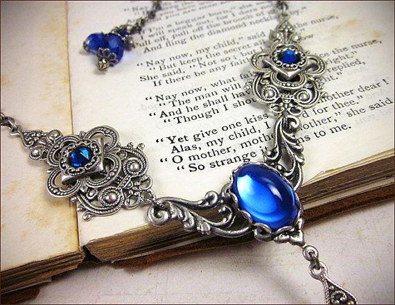 Blue Renaissance Necklace Medieval Jewelry Sapphire Jewel   Etsy