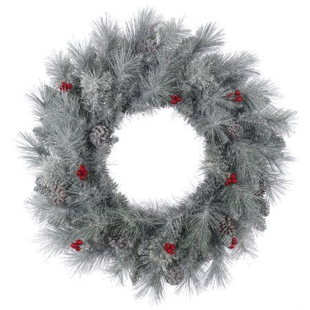 Vickerman 30 inch Frosted Mixed Berry Pine Artificial Christmas Wreath, Unlit, White