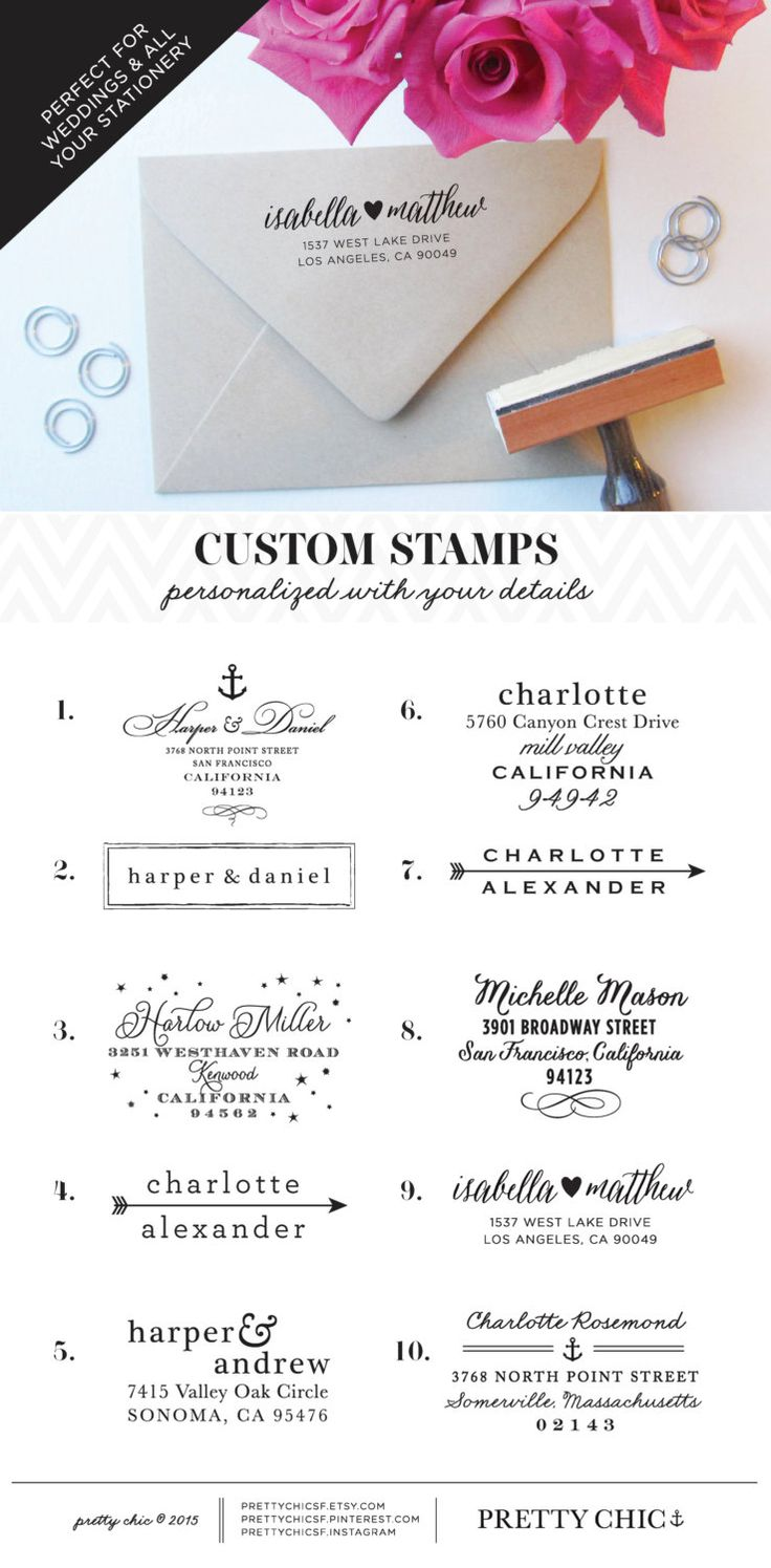 Custom Stamps personalized for all your Stationery & Wedding. Shop them all at Pretty Chic SF