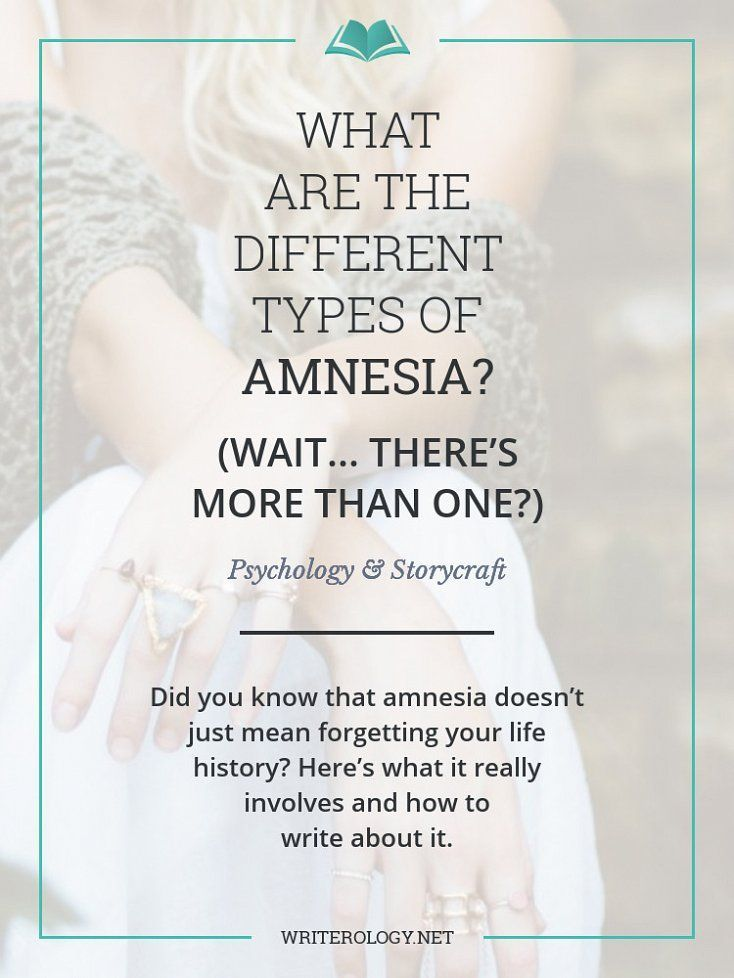 Did you know that amnesia doesn't just mean forgetting your life history? Find out about the different kinds of amnesia and how to write about them in today's post. | http://Writerology.net