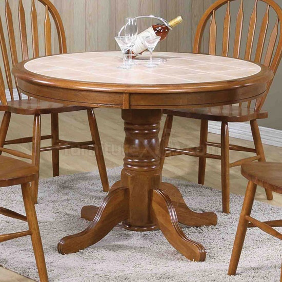 Medium Oak Tile Top Pedestal Table By World