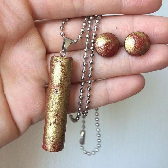Round earrings  pendant  Geometric jewelry  CONCRETE set