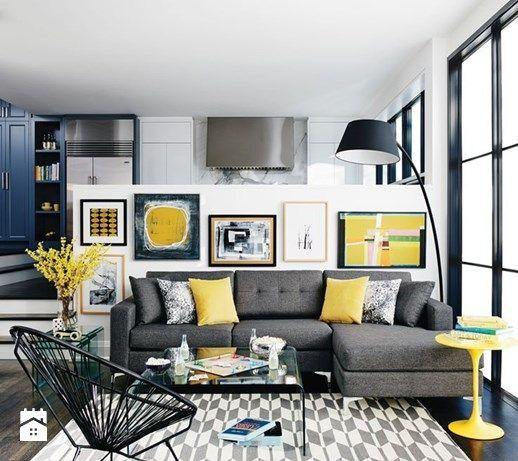 Kolor i deseń: Kolor miesiąca - intensywny żółty - Salon, styl eklektyczny - zdjęcie od Small world of design