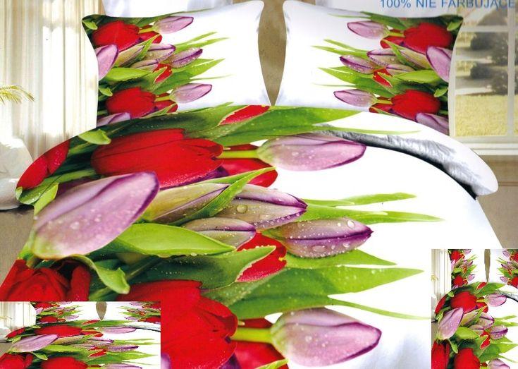 Czerwono fioletowe tulipany pościel do sypialni w kolorze białym