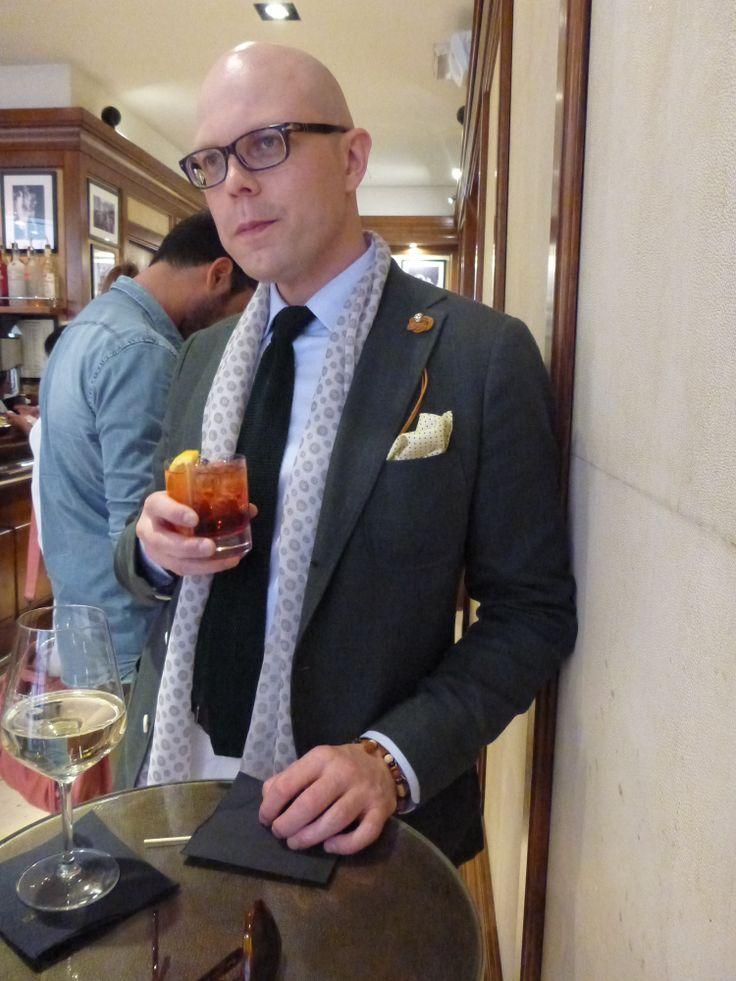 Herrainpukimo head designer Jussi Häkkinen in an iconic bar in Firenze.