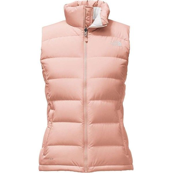 The North Face Women's Nuptse 2 Vest ($149) ❤ liked on Polyvore featuring outerwear, vests, tropical peach, the north face vest, vest waistcoat, pocket vest, pink vest and insulated vest