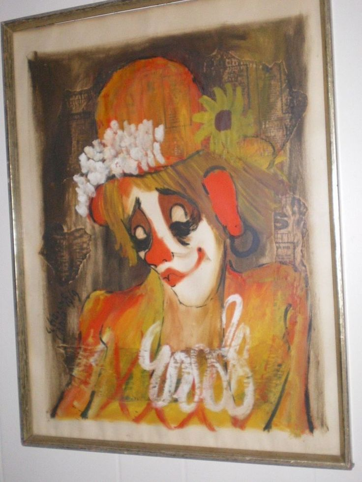 """Signed painting of a lovely female clown, very French. Roger Etienne is known for: impressionist landscapes, chirldren, nudes, and clown paintings. This painting is a gouache mixed medium on paper, 19 x 23"""" overall size. 