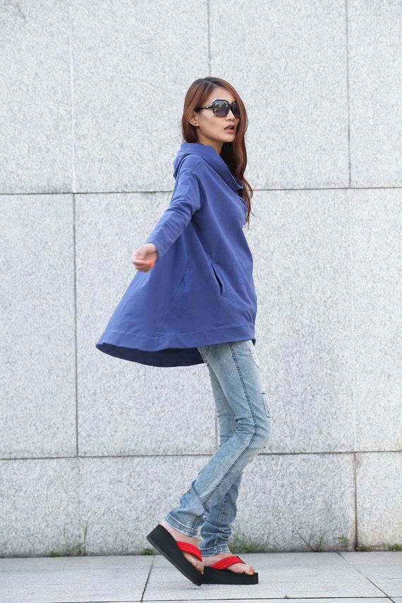 Stylish Hoodie Cape Top Hooded Cotton Blouse Top door Sophiaclothing