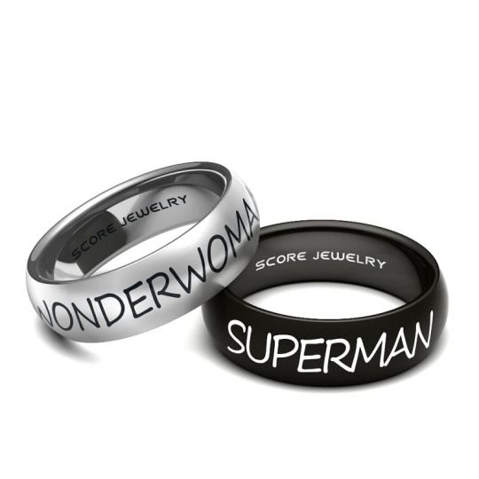 Couple Set 8mm Tungsten and 8mm Black Tungsten Bands with Domed Edge Wonder Woman Superman Rings   https://www.scorejewelry.com/couple-set-8mm-tungsten-and-8mm-black-tungsten-bands-with-domed-edge-wonerwoman-superman-rings.html
