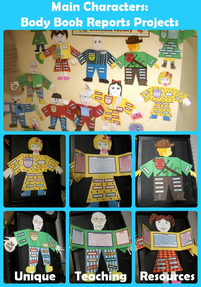 "Students have fun creating these ""Main Character - Body Book Report Projects.""  Students design the character's body and then glue the writing templates inside the vest area and descriptive adjectives on the outside of the body.  For more information about this project, visit this page:  http://www.uniqueteachingresources.com/character-body-book-report.html"