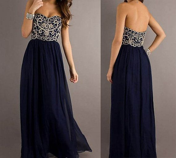 Beading Custom Prom Dress Long Navy Blue Prom Dress Gown,8th Grade Short Graduation Dress Wedding Party Dress Women Evening Dress Formal on Etsy, $119.00