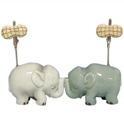 """WL SS-WL-93433 Two Solid Grey & White Elephants Kissing Photograph Clips, 4"""""""""""
