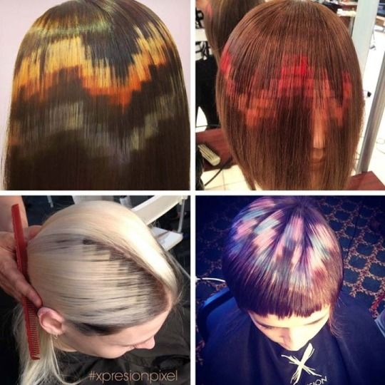 "Gorgeous ""pixelated"" hair dye is not something I knew I need until now. Amazing hair dye work by Spanish hair artists, X-presion Creativos."