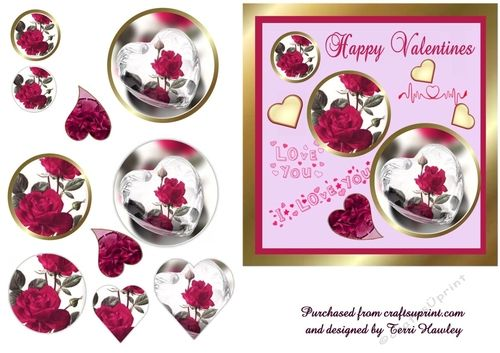 This is a very pretty 6x6 valentines card. with red roses hearts and sentiments,   very easy to make and can be sent to anyone you like.
