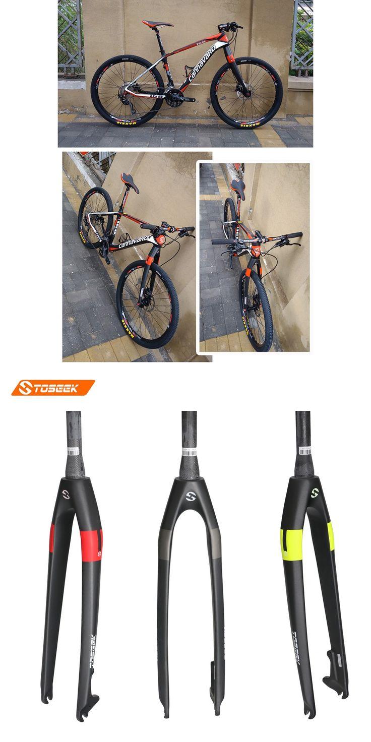 TOSEEK Full carbon fiber mountain bike fork hard fork fit disc brake grey matte  1-1/8 28.6mm Fork bicicleta 26ER 27.5ER 29ER
