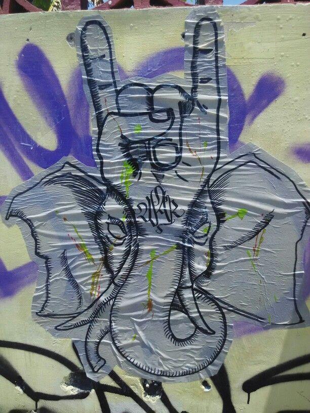 #wheatpasteblues #warthebangsat #metalhead #streetart