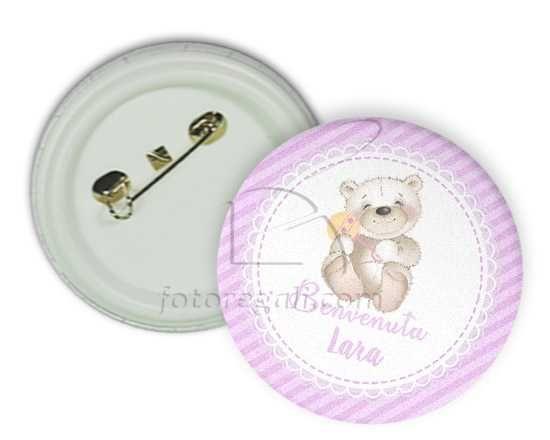 Spilla rotonda Pink teddy bear