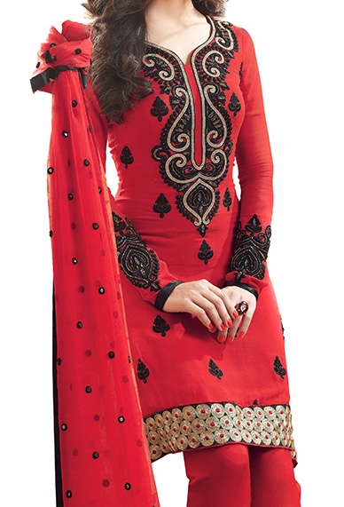 Red Georgette Salwar Kameez - love the style/cut!