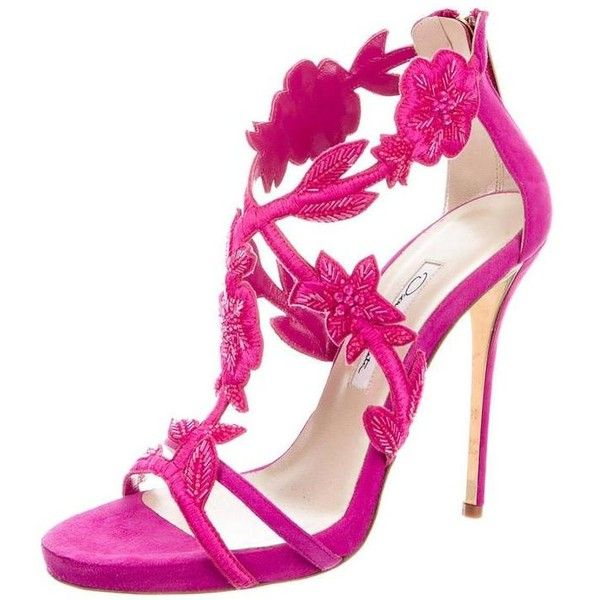 Preowned Oscar De La Rental New Pink Suede Bead Floral High Heels... (£715) ❤ liked on Polyvore featuring shoes, sandals, pink, stiletto sandals, pink heel sandals, suede sandals, pink shoes and high heel sandals