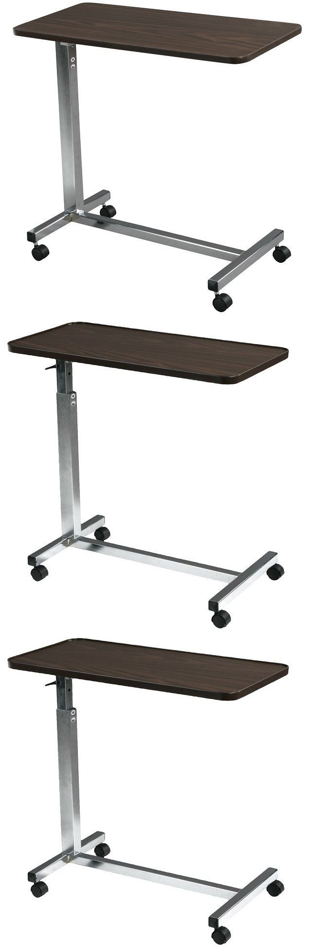 Bed and Chair Tables: Over The Bed Table With Wheels Computer For Hospital Tray Adjustable Laptop Desk -> BUY IT NOW ONLY: $71.64 on eBay!