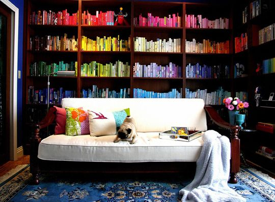 book organization Ideas, Dreams Libraries, Bookshelves, Home Libraries, Reading Rainbows, Bookcas, Libraries Design, Pugs, Colors Coordinating