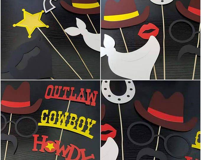 Apoyos de la foto de partido vaquero stand - partido - Foto accesorios - caballo de cabina - sheriff - foto - yeehaw - vaquero - decoración del partido - partido de cumpleaños