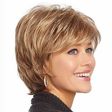 Synthetic Wig Wavy Style With Bangs Capless Wig Strawberry Blonde Synthetic Hair Women's Highlighted / Balayage Hair Brown with Golden Highlights Wig Short Natural Wigs