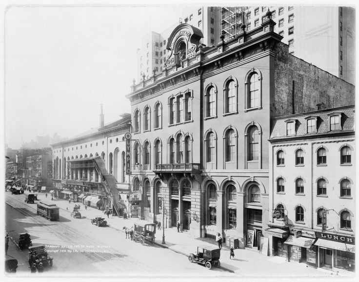 Tammany Hall on East 14th Street between Third Avenue and Irving Place in Manhattan, New York City (1914). The building was demolished c.1927.