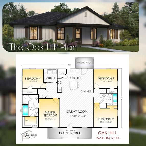 The Oak Hill Plan Etsy Building Plans House Building A House Custom Home Plans