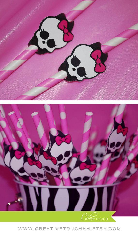 Monster High Straw Flags, Monster High Birthday, monster High Party, Monster…