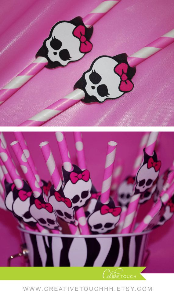 Monster High Straw Flags, Monster High Birthday, monster High Party, Monster…