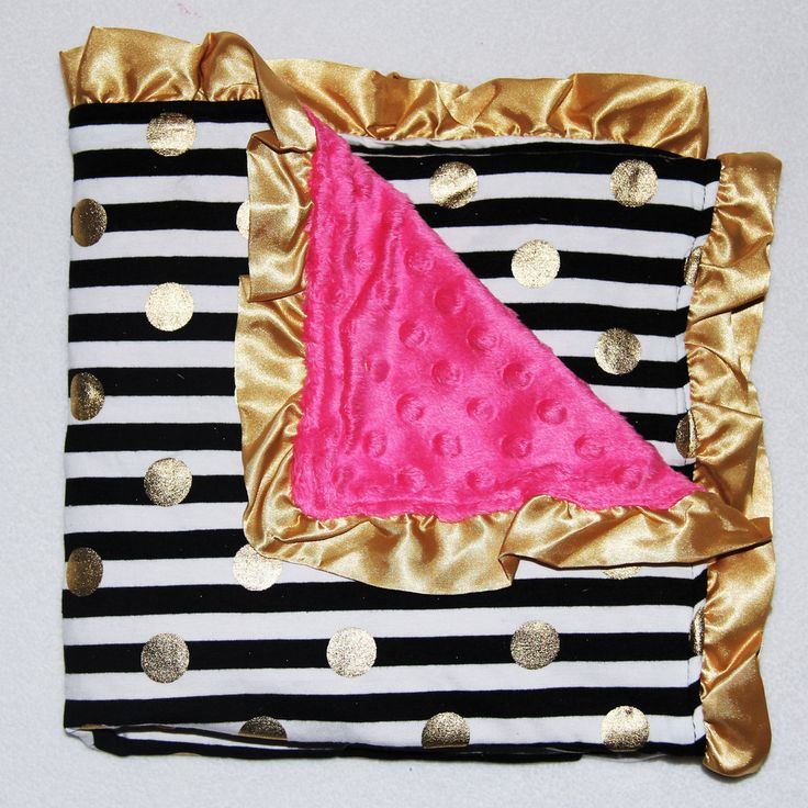 Black/Whtie Stripe Gold Dot with Pink Minky Blanket #accessories #new