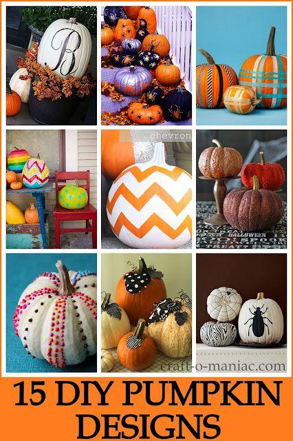 15 DIY Pumpkin Designs #pumpkins #halloween15 Diy, Decor Ideas, Halloween Crafts, Pumpkin Decor, Pumpkindesign, Crafts O' Maniac, Pumpkin Design, Front Porches, Diy Pumpkin