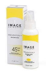 Prevention+ Ultra Sheer Spray SPF 45 4 oz. This next generation ultra-sheer, broad spectrum high UVA/UVB lightweight spray sunscreen combines transparent zinc oxide with novel antioxidants to prevent free radical damage and protect against environmental exposures