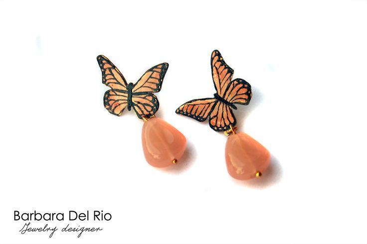 Orecchini farfalla rosa antico : Orecchini di barbara-del-rio