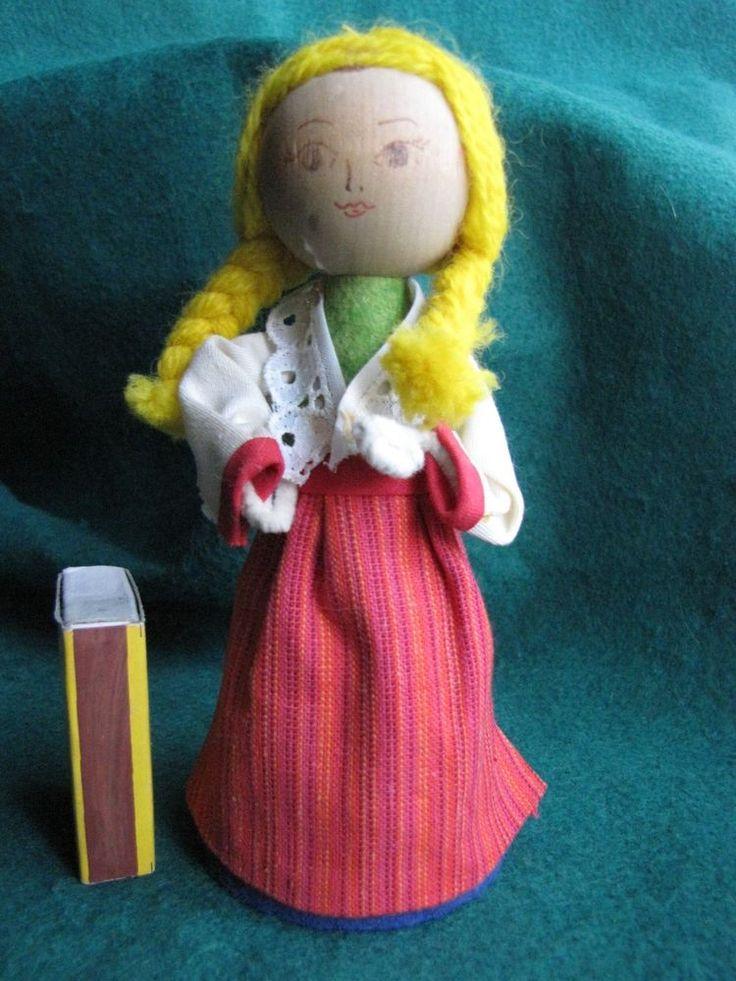 Vintage Wood Swedish People Figure Girl Doll blue Sweden Modernist A
