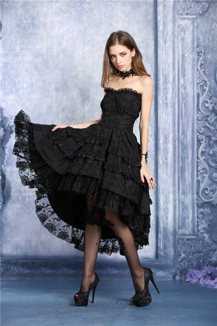 Robe bustier noire mi longue bouffante dentelle fleurie lolita gothique vampire > JAPAN ATTITUDE - DARKIL015