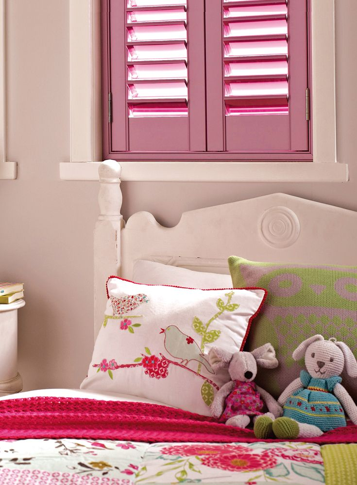 Our stylish Luxaflex® Interior Shutters are available in a wide range of unique and individual options to dress any variety of window. These pretty pink shutters are perfect for a little girls bedroom.