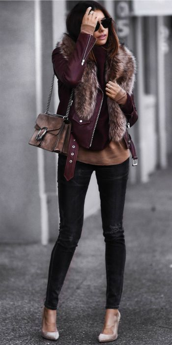 Erica Hoida + sleek + sophisticated + sexy + gorgeous faux fur collared jacket + dark red leather + skinny jeans + heels   Jacket: Veda, Sweater: Vince, Sweater: Rag & Bone, Jeans: Citizens of Humanity, Shoes: Gianvito Rossi.