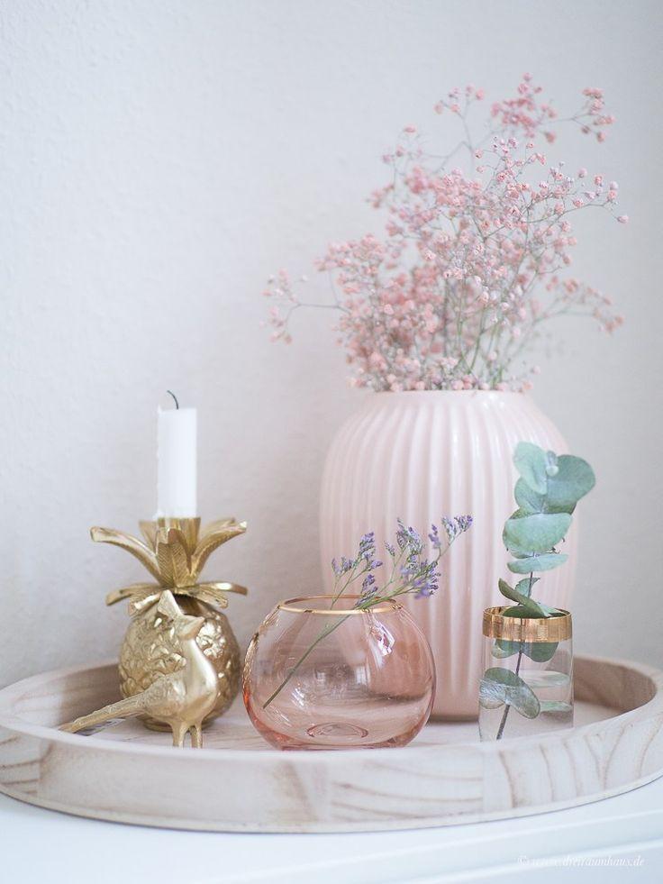 deko wohnzimmer rosa gold  minimalistisches und modernes