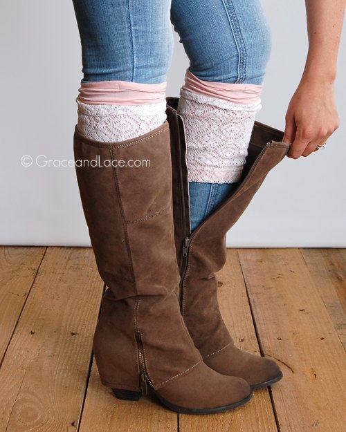 Londres Lace Boot poignets - BLUSH lace boot topper botte brassard - jambières faux - jambières en couches brassard de dentelle de Grace et de dentelle et de Grace