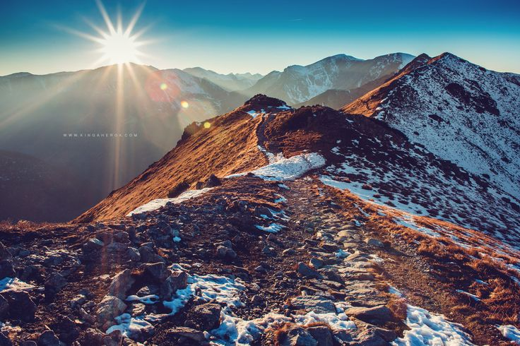 Tatry Polskie, Polish mountains , Trail,sunset , Zakopane, Kasprowy Wierch , Listopad