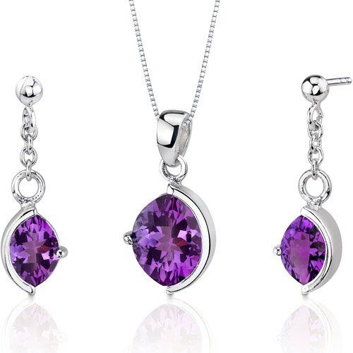 Museum Design 4.00 carats Marquise Cut Sterling Silver Rhodium Finish Amethyst Pendant Earrings Set Peora. $64.99. Save 62%!