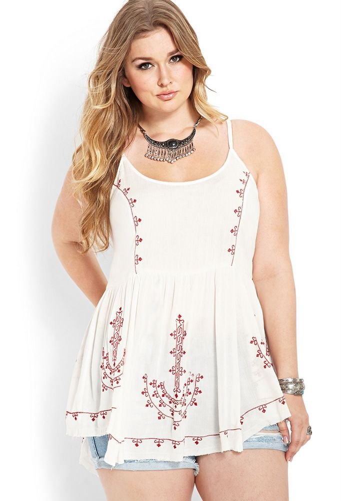Embroidered Peasant Tunic at Forever 21 Plus Sizes on The Curvy Fashionista