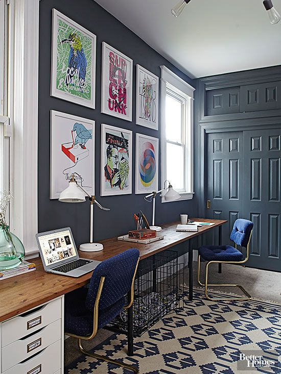 Navy walls for days!! This looks awesome paired with bright white & wood <3 #BHG