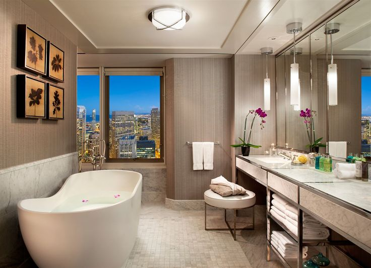 Mandarin Oriental San Francisco, USA. #hotel #restroom #lamps #light #design #modern #luxury #beige #white
