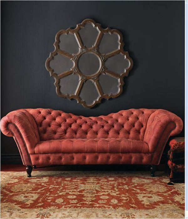 Red Velvet | Ornate Mirror | Dark Gray | Paint Color | Chesterfield Sofa | Iconic Furniture | Tufted Couch | Interior Design: